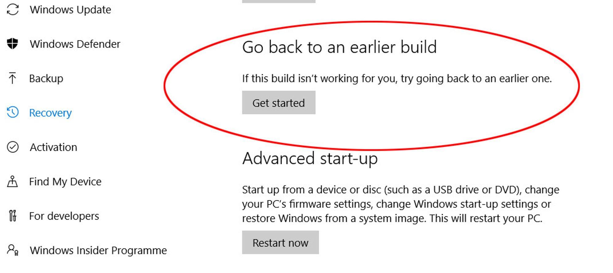 Herfra kan man rullet Windows 10 tilbake til en tidligere versjon, i engelskspråklige utgaver av Windows 10.