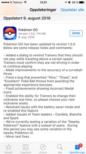 Den nye oppdateringen har noen endringer.