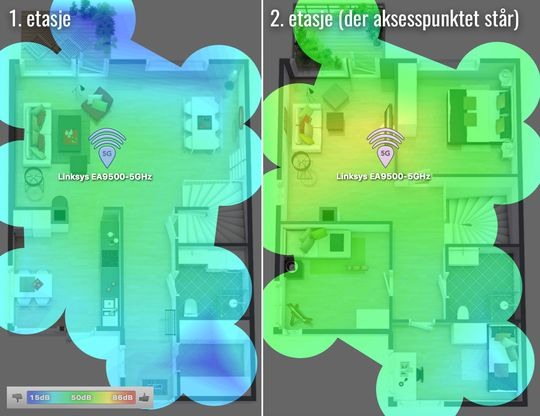 Dette kartet viser støy/signalforhold for 1. og 2. etasje på 5 GHz. Ruteren var plassert i 2. etasje. Gult er best, så kommer grønt, deretter blått i områder med svak dekning. .