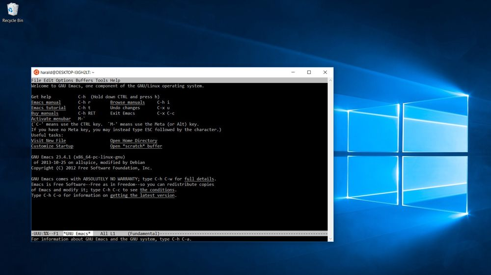 Emacs i Bash on Ubuntu on Windows.