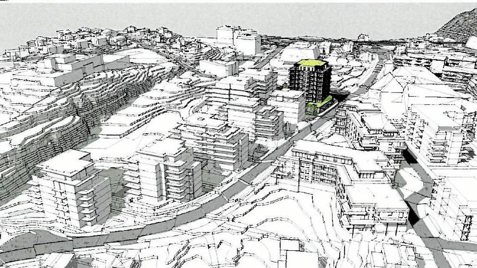 HØYBLOKK MIDT I SENTRUM: Den aktuelle tomten i Edvard Griegs vei 1 hvor Foss & Co foreslår å bygge det høyeste bygget på Kolbotn, utgjør et attraktivt hjørne i Kolbotn sentrum som ligger sør for rådhuset og vest for Kolbotn torg.