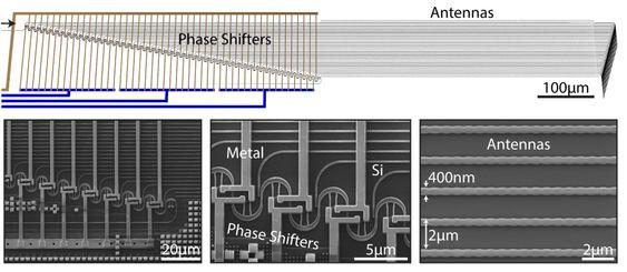 Elektronmikroskopi av lidaren. Enheten benytter termiske faseskiftere til å varme opp bølgeledere.
