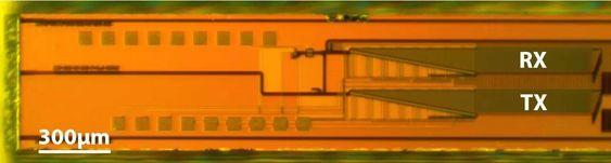 Mikroskopbilde av lidaren, som måler 0,5 x 6 millimeter. Den har styrbare sender og mottakere, og fotodetektorer av germanium.