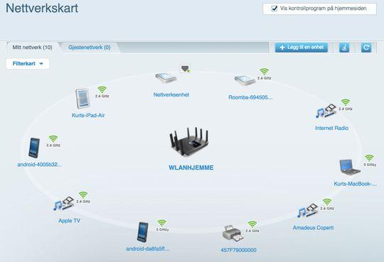 Nettverkskartet. Klikker du på en av enhetene kan du få mer informasjon, reservere en IP-adresse for enhetene, eller begrense internett-tilgang for enheten.