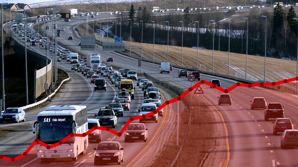 Utslippene fra veitrafikken fortsatte å øke i fjor, selv om det blir stadig flere elbiler og ladbare hybrider på veiene.