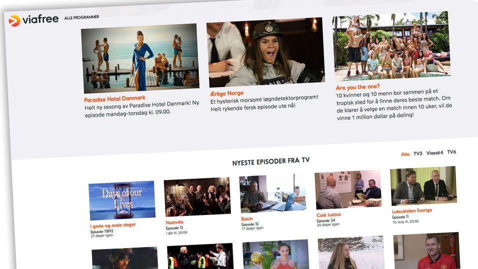 Viafree tilbyr gratis strømming av innhold fra blant annet TV3, TV6 og Viasat4.