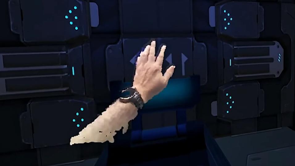 Slik ser det ut når hendene dine bringes inn i VR-verdenen.