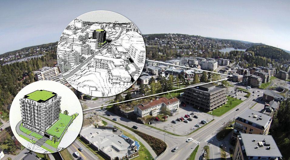 IKKE SMÅTTERIER: Dersom planene går gjennom, vil en ny høyblokk på ni etasjer ruve der Eiendomsmegler Foss & Co ligger i dag.