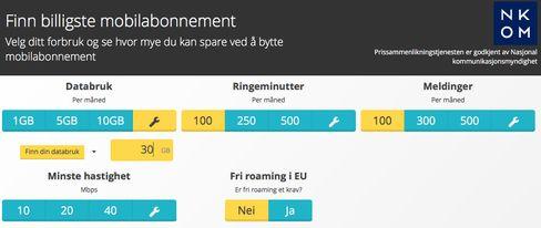 Vi har forbedret Finn billigste mobilabonnement-kalkulatoren, slik at du nå blant annet kan velge minstehastighet og om du vil ha inkludert dataroaming i EU.