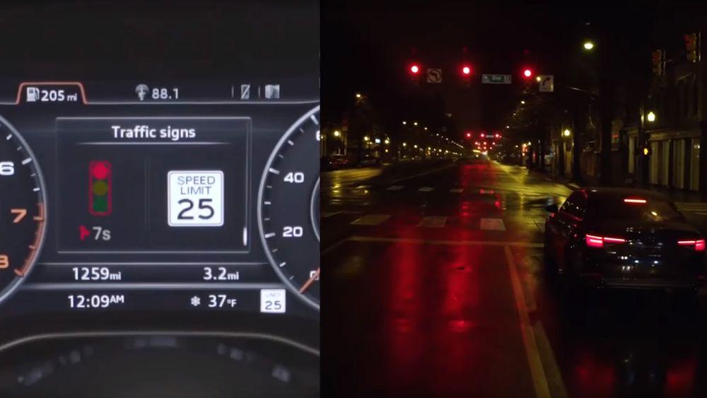 Sjåføren får beskjed om hvor lenge det er til trafikklyset skifter til grønt med Audis teknologi.