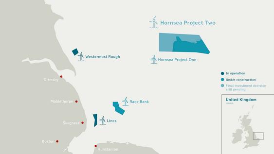 Hornsea-prosjektene i Nordsjøen.