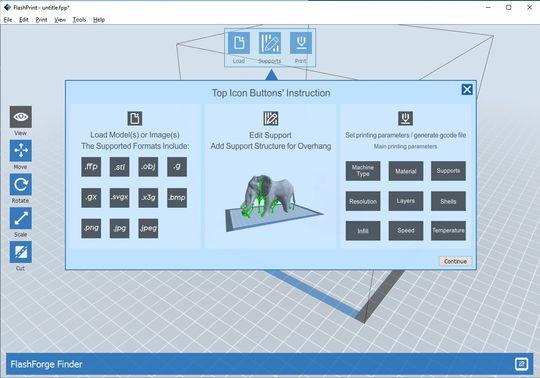 FlashPrint veileder deg gjennom skrittene ved installering. Her ser du hvilke filformat Finder støtter.