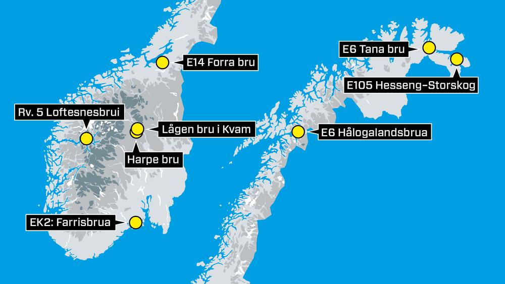 Det bygges stadig flere bruer langs norske veier. De åtte største veibruene under bygging koster til sammen mer enn fem milliarder kroner.
