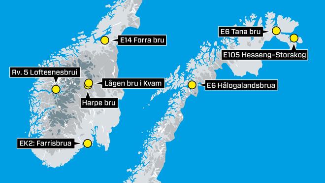 Her er de største bruprosjektene langs norske veier. Et av dem er helt unikt