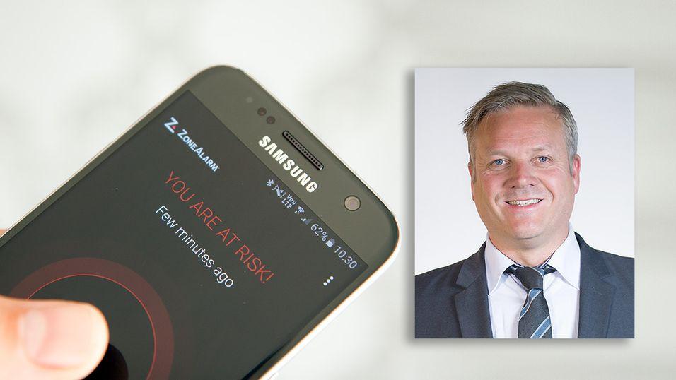 Bjarte Malmedal i Norsis mener folk flest ikke trenger å frykte virus på mobilen.