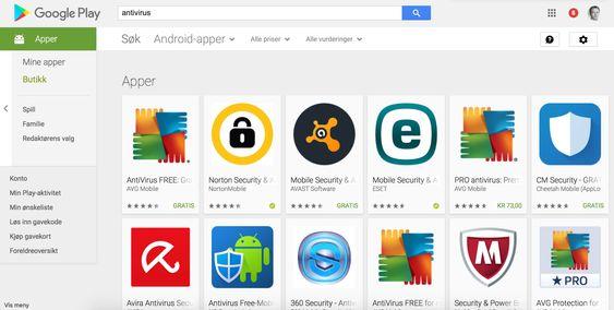 Utvalget av antivirusprogrammer på Google Play er ganske stort.