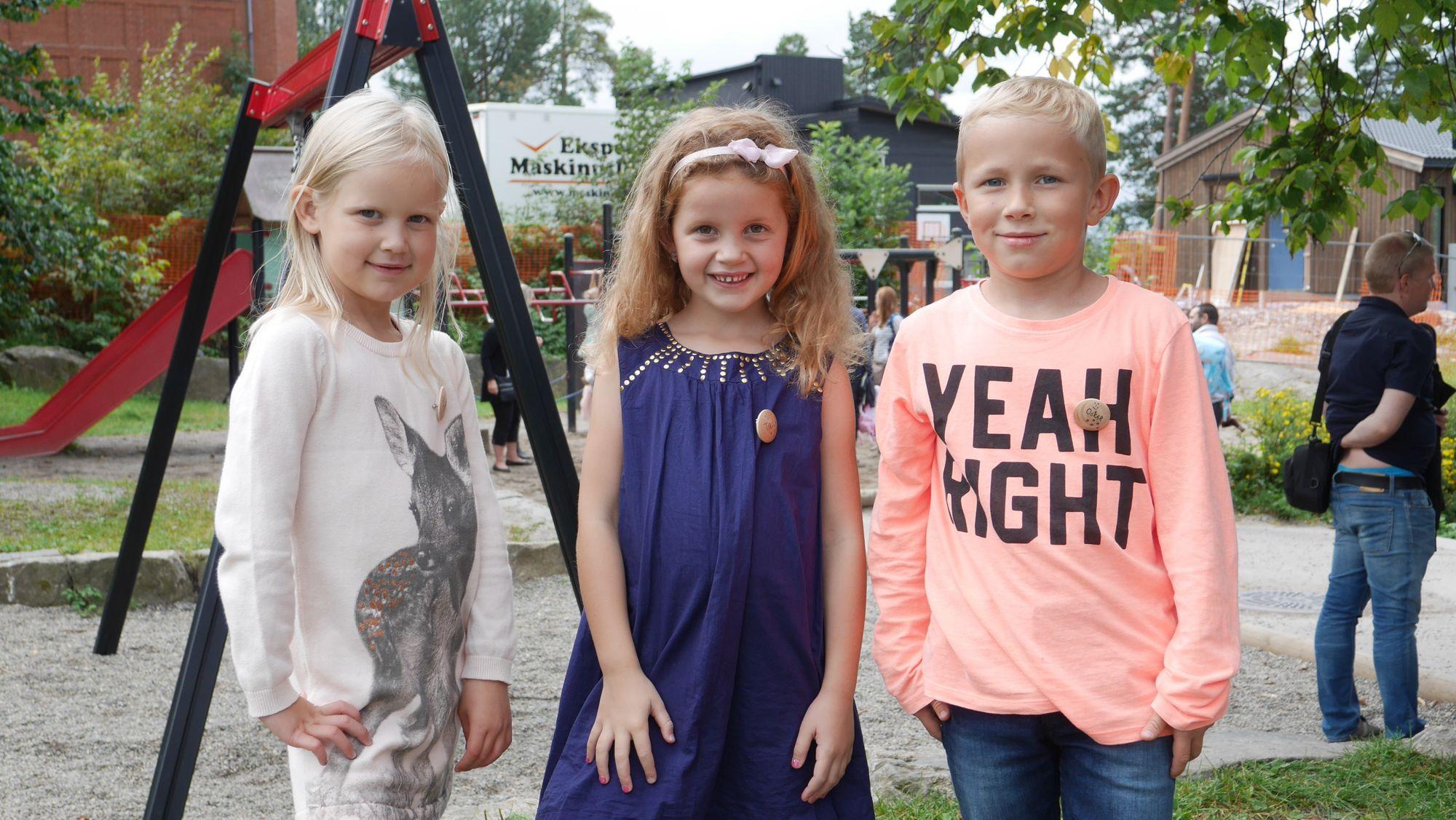 NYDELIGE GREVERUDBARN: F.v. Josefine Harfelt Breiby, Tiril Aarum,Oskar Holtedahl Bache.