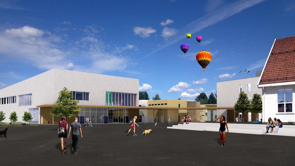 2017 er året Frogner skole står ferdig, slik denne arkitektillustrasjonen viser.