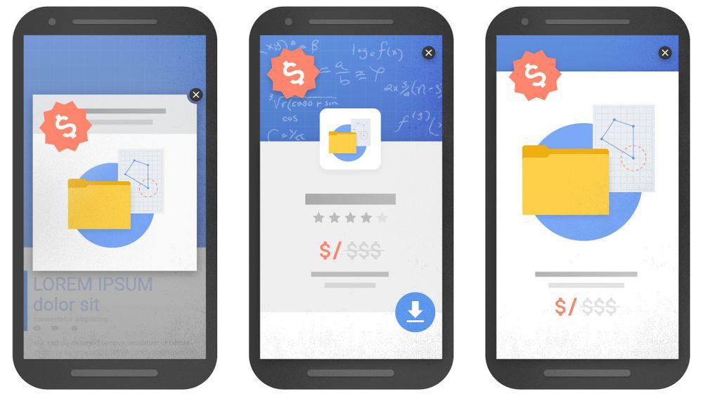 Eksempler på forstyrrende webside-teknikker som snart kan føre til dårligere rangering i Googles mobilsøk.