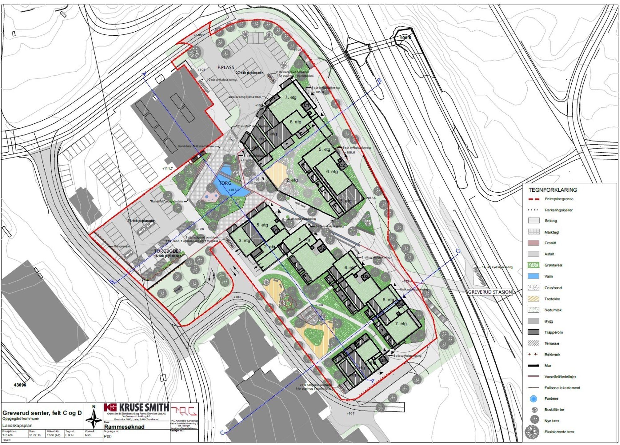 PLANTEGNING: Her kan du se landskapsplanen for det nye senteret. Klikk for større versjon!