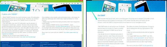 Forbrukerombudets skjermdump av Telenors nettsider (t.v.) fra tidligere i sommer. Telenor har nå blitt tydeligere på hva som er årsaken til prisforskjellene.