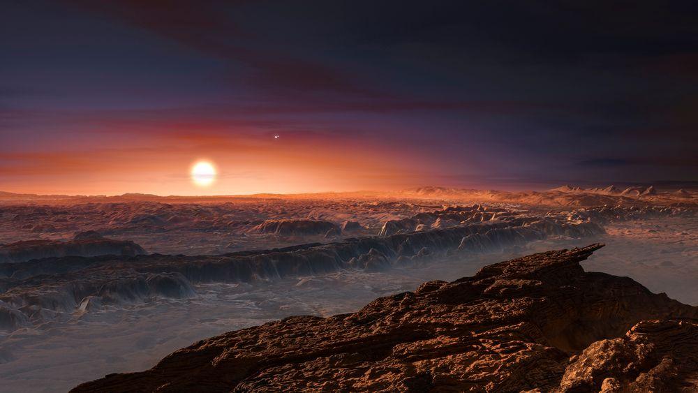 Slik ser en tegner for seg overflaten på planeten Proxima b.