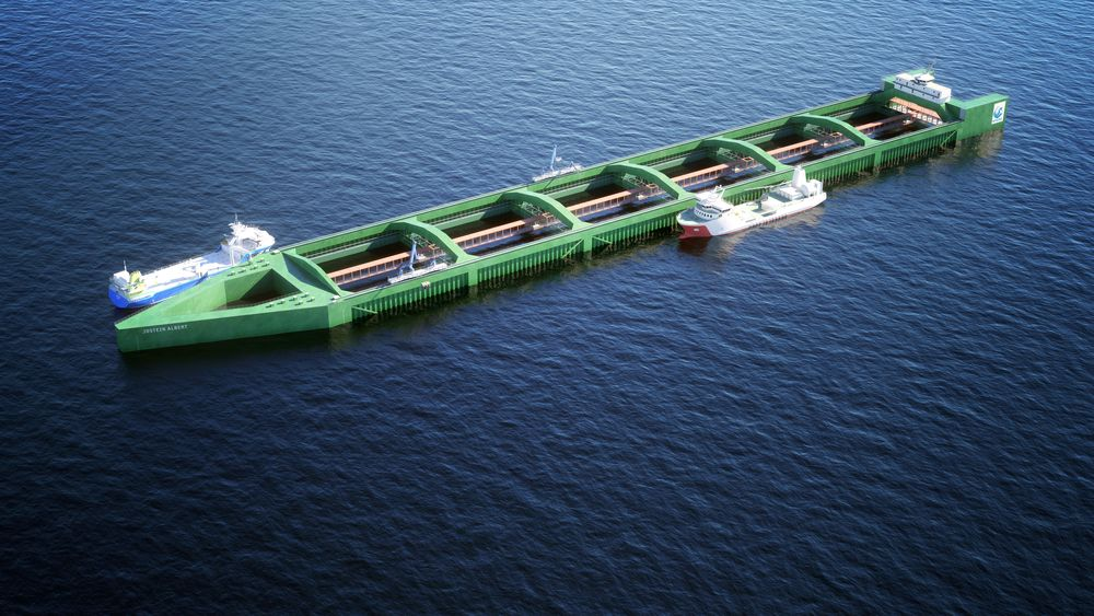 Havfarmen til Nordlaks: Slik ser designerne for seg at verdens største oppdrettsanlegg kan bli seende ut; et 430 meter langt skipsformet anlegg, som rommer i alt 6 merder.