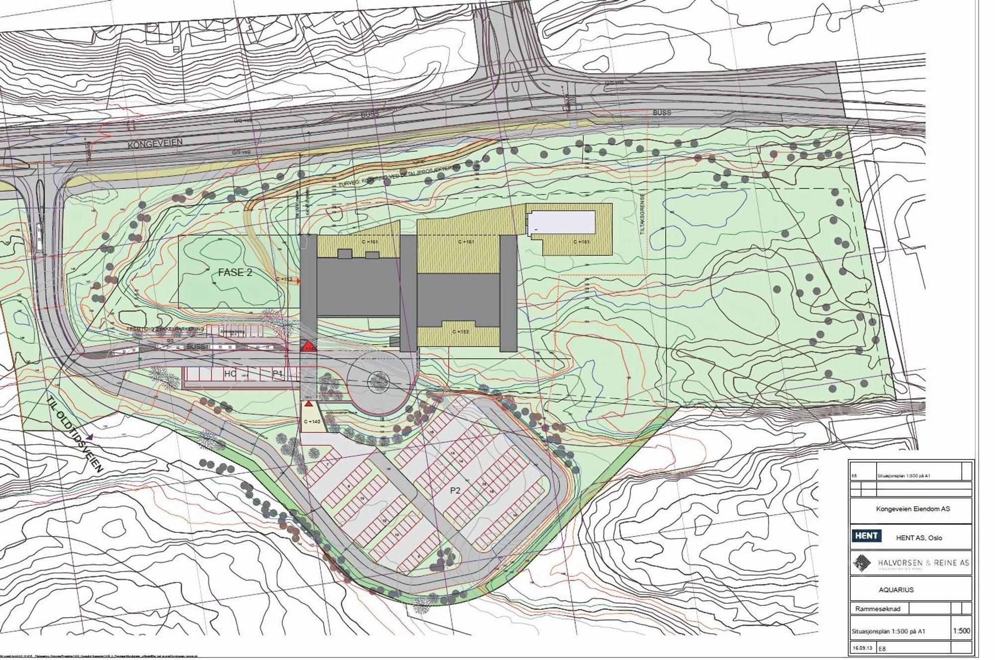 BYGGETRINN TO: På Canicas eiendom, syd for The Well, er det i reguleringsplanen lagt til rette for et badeanlegg på 3000 kvadratmeter. Klikk på bildet for å forstørre.