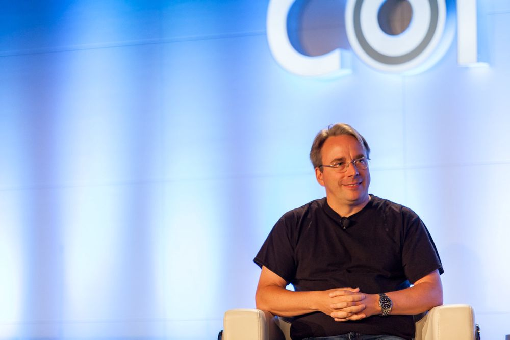 Linux-skaper Linus Torvalds under LinuxCon North America 2016.