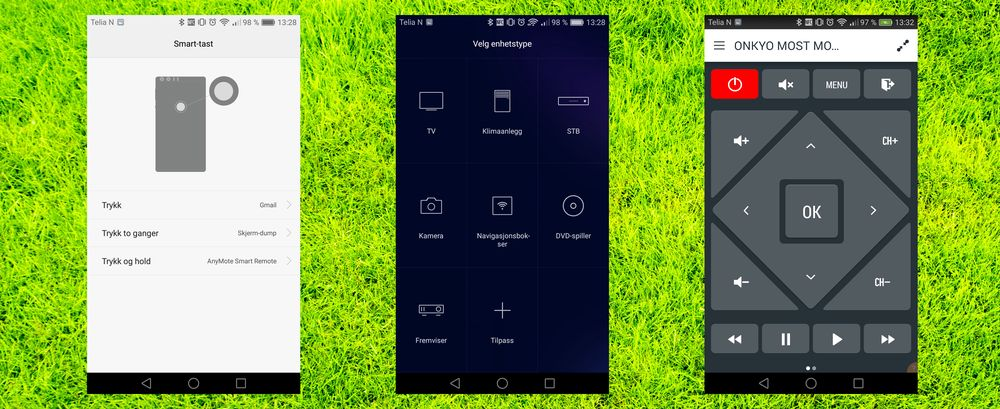 En egen knapp på baksiden lar deg styre inntil tre ulike funksjoner som du velger selv. Det er fjernkontrolløye på Honor 8, men den medfølgende appen er ikke fullt så god som de du finner i Google Play. AnyMote er en av de beste om man bare vil ha enkelt og kjapt oppsett, og massiv støtte for ulike typer dingser.