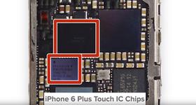 Problemet skal ifølge iFixit ligger her, i kontrollbrikkene til berøringsskjermen. Apple mener problemet er at folk har mistet telefonen.
