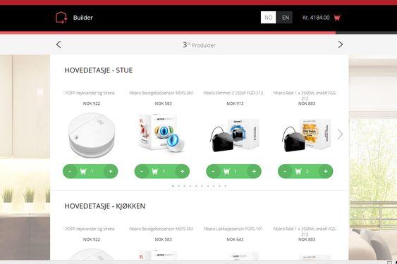 Selvbetjent: Det er ingen tvil om at Futurehome har gjort det enkelt å bygge seg et smarthus. Nettbutikken deres viser priser ferdig montert på alle komponentene du bestiller.