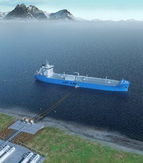 Skipet er fortøyd til bøyer og UTS med slanger buksert ut til skipet. Alt er basert på standard koblinger, enten det er LNG, LPG, etan, olje eller andre fluider.