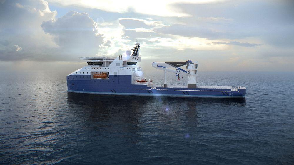 Illustrasjon av offshorefartøy med fibertaukran fra Rolls-Royce. Flere kunder står klare til å bestille når markedet snur.