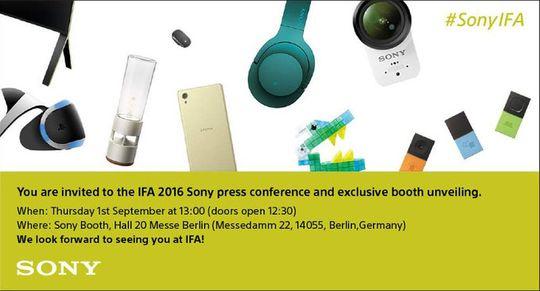 Slik ser invitasjonen til årets Sony-pressekonferanse på IFA ut. Hva vi skal få se er ikke kjent, men ryktene peker mot en ny topptelefon.