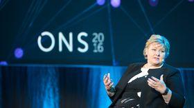 ONS 2016: Statsminister Erna Solberg lover stabile, men ikke bedre rammebetingelser enn dagens. Foto: Eirik Helland Urke.