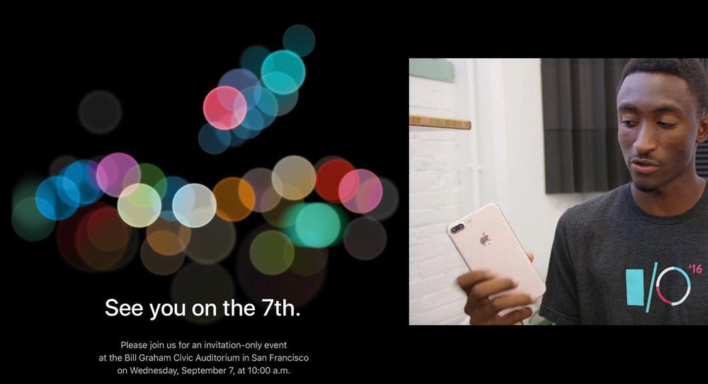 Denne innkallingen landet i kveld i e-postboksen vår. Ved siden av ser du Marques Brownlee vise frem en ryktebasert designgjetning på hvordan iPhone 7 vil se ut.
