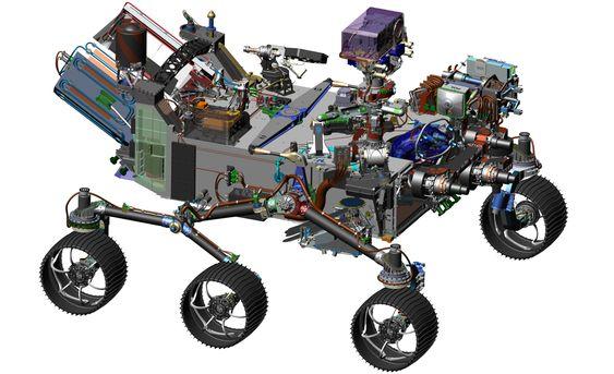 Ny rover til Mars: Datagrafikken av ny rover viser helt til venstre deler av strømforsyningssystemets radioisotop-generator. Antennen til den norske RIMFAX-georadaren sitter på bakre underside av skrogboksen.