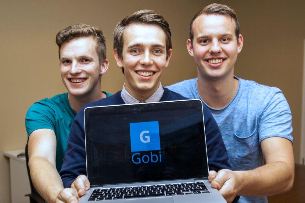 Studiepause: Andreas Øgaard (t.v.) Kristoffer Lande og Morten Stulen (samt Kristian Rekstad og Lars Erik Fagernæs), har satt studiene på vent for å satse på appen Gobi.