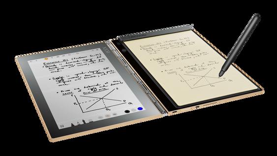 Når du ikke bruker tastaturet på Yoga Book kan du for eksempel bruke berøringsflaten til å ta notater.