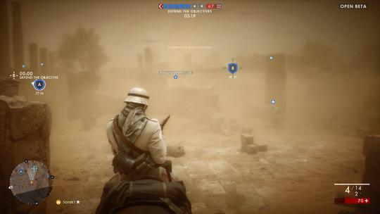 Velkommen til første verdenskrig. Her er alt i sepia-toner. Neida, det er bare en sandstorm.