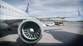Lufthansas nye A320 neo gjør klar for å fly til Frankfurt fra Oslo.