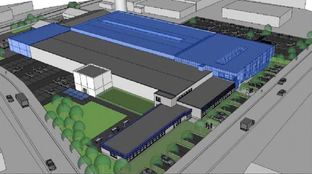 Bildet viser en animasjon av Magnetrols fabrikk i Belgia, for produksjon av utstyr til nivåmåling, Kapasiteten ble doblet i 2013.