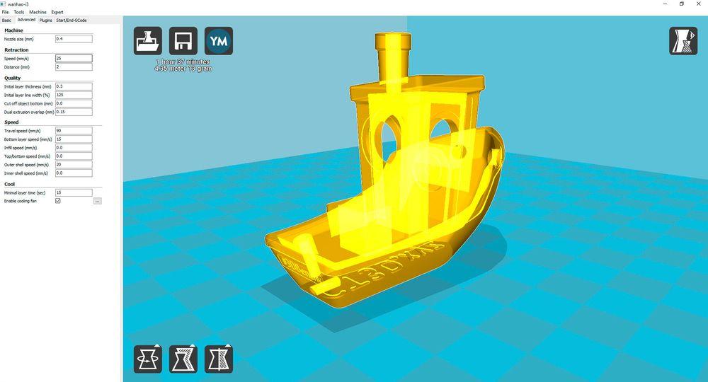 3DBenchy i Cura, i gjennomsiktig-modus. I denne og X-ray-modus kan du se inni objekter og identifisere eventuelle problemområder som overheng, som kanskje trenger støttestrukturer for å skrives ut skikkelig.