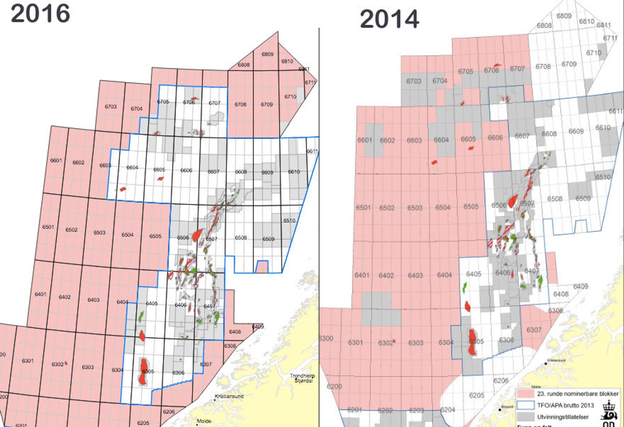 Dette er forskjellen på nominasjonskartene fra 2014 og 2016. De rosa områdene er blokkene som oljeselskapene kan nominere. Et titalls blokker er nå åpnet for nominasjon i de forbudte Nordland 6-områdene, samt Møre-blokkene.