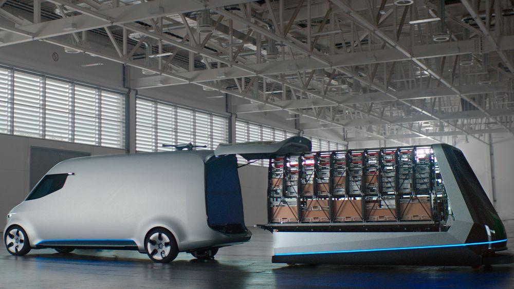 Lasterommet i varebilen kan fylles på et blunk.