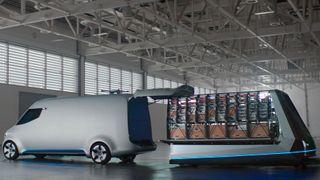 Denne Mercedes-varebilen har automatisk lasterom og droner på taket
