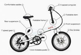 Sykkelen har batteriet bygget inn i rammen.