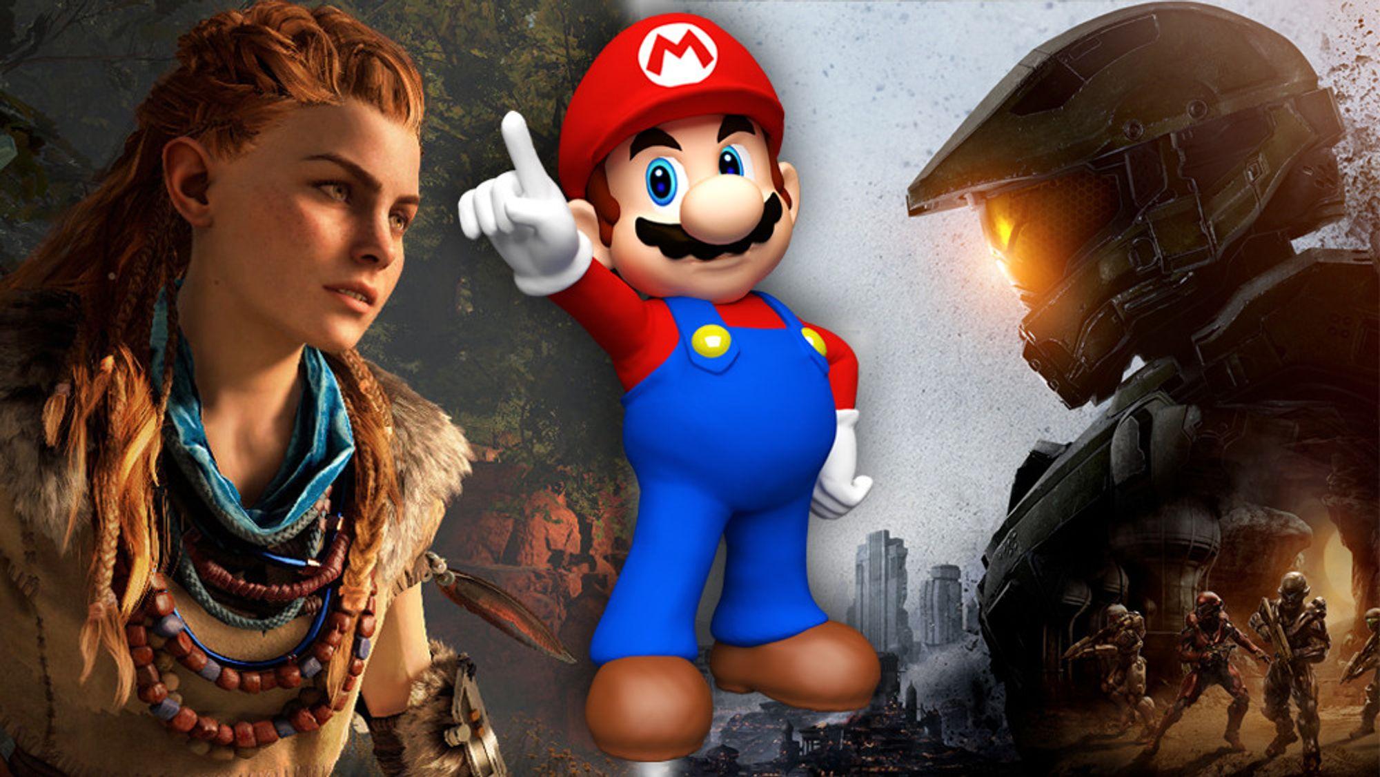 Sonys Horizon Zero Dawn (t.v.), Nintendos Mario og Microsofts Master Chief.