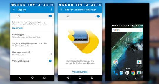 I Moto-appen kan du blant annet velge skjermminimering.